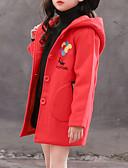 お買い得  女児ジャケット&コート-子供 女の子 ベーシック ソリッド 長袖 ジャケット&コート ルビーレッド