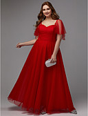 preiswerte Abendkleider-A-Linie Sweetheart Boden-Länge Tüll Formeller Abend Kleid mit Plissee durch TS Couture® / Abiball
