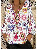 זול חולצות לנשים-פרחוני צווארון V מידות גדולות חולצה - בגדי ריקוד נשים