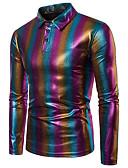 cheap Men's Shirts-Men's Daily Vintage / Basic Cotton Shirt - Color Block Rainbow M / Long Sleeve