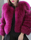 cheap Women's Fur & Faux Fur Coats-Women's Daily Basic Short Fur Coat, Solid Colored Collarless Long Sleeve Faux Fur Pink / Gray / Purple XXL / XXXL / 4XL