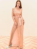 cheap Women's Dresses-Women's Party Elegant Maxi Sheath Dress - Solid Colored Sequins Deep V Pink M L XL / Sexy