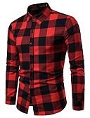 abordables Sudaderas de Hombre-Hombre Básico Trabajo Algodón Camisa A Cuadros Rojo XL / Manga Larga / Otoño