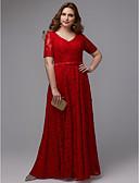 billige Aftenkjoler-A-linje V-hals Gulvlang Blonder Formell kveld Kjole med Belte / bånd av TS Couture®