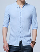 cheap Men's Shirts-Men's Chinoiserie Plus Size Cotton / Linen Shirt - Solid Colored Standing Collar / Spring / Fall