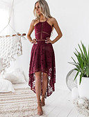 cheap Romantic Lace Dresses-Sexy Lace Dress Wine Women's Party Asymmetrical Slim Sheath Dress Solid Colored Lace Off Shoulder Summer White M L XL