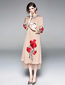 ieftine Rochii Damă-Pentru femei Vintage / Chinoiserie Swing Rochie - Brodat, Floral Midi Rose