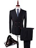 お買い得  スーツ-タキシード スタンダードフィット ピークドラペル ダブルブレスト 6ボタン コットン / ポリエステル ソリッド