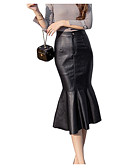 cheap Quartz Watches-women's faux leather midi bodycon skirts - solid colored