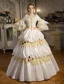 billige Lolitakjoler-Eventyr Prinsesse Gotisk Lolita Gotisk Kostume Dame Kjoler Drakter Party-kostyme Maskerade Hvit Vintage Cosplay Polyester 3/4 ermer Puffermer