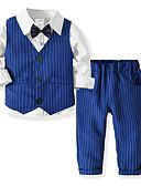 זול סטים של ביגוד לבנים-סט של בגדים כותנה שרוול ארוך אחיד / פסים Party פעיל / בסיסי בנים ילדים / פעוטות
