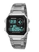 Недорогие Цифровые часы-SANDA Муж. Спортивные часы электронные часы Японский Цифровой Нержавеющая сталь Черный / Серебристый металл 30 m Защита от влаги Календарь Секундомер Цифровой Мода - Черный Серебряный / Хронометр