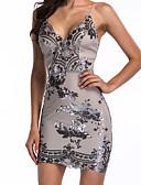 cheap Party Dresses-Women's Party / Birthday Basic Slim Bodycon Dress - Solid Colored Sequins / Print Strap Spring Black Purple Khaki M L XL / Sexy