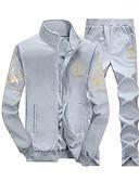 Χαμηλού Κόστους Αντρικές Μπλούζες με Κουκούλα & Φούτερ-Ανδρικά Μεγάλα Μεγέθη Παντελόνι - Συνδυασμός Χρωμάτων Θαλασσί / Στρογγυλή Λαιμόκοψη / Αθλητικά / Μακρυμάνικο / Φθινόπωρο / Χειμώνας