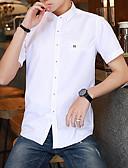 זול חולצות לגברים-גברים בתוספת חולצה גודל - מוצק חולצה צווארון צבעוני