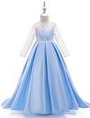hesapli Çiçekçi Kız Elbiseleri-A-Şekilli / Balo Abiyesi Taşlı Yaka Maxi Şifon / Organze / Saten Şifon Dantel / Zıt Renkler ile Çiçekçi Kız Elbisesi tarafından LAN TING Express