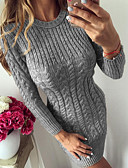 cheap Sweater Dresses-Women's Daily / Casual Basic Skinny Bodycon / Sweater Dress Knitted / Twisted Navy Blue Gray Light Blue M L XL