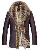 ieftine Jachete & Paltoane Bărbați-Bărbați Zilnic Regular Palton Piele, Mată Guler rulat Manșon Lung Piele de Capră Maro / Negru XXXL / 4XL / XXXXXL / Larg