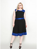billige Kjoler i plus størrelser-Dame A-linje / Swing Kjole - Farveblok Knælang