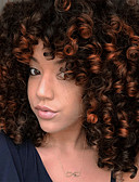 cheap Evening Dresses-Synthetic Extentions Women's Afro Curly / Bouncy Curl Black Asymmetrical / With Bangs Synthetic Hair 14 inch Women Black / Dark Brown Wig Short Capless Natural Black Dark Brown / Medium Auburn Golden