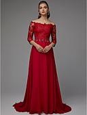 billige Aftenkjoler-A-linje Løse skuldre Svøpeslep Blonder / Jersey Formell kveld Kjole med Perlearbeid av TS Couture®