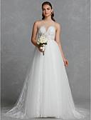 preiswerte Hochzeitskleider-A-Linie Schmuck Hof Schleppe Spitze / Tüll Maßgeschneiderte Brautkleider mit Spitze durch LAN TING BRIDE®