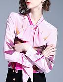 abordables Abrigos de 100% Lana y Mezcla de Lana para Mujeres-Mujer Básico Camisa Floral