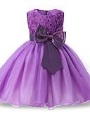Χαμηλού Κόστους Φορέματα για κορίτσια-Παιδιά / Νήπιο Κοριτσίστικα Ενεργό / Γλυκός Καθημερινά / Αργίες Μονόχρωμο Φιόγκος / Δίχτυ Αμάνικο Πάνω από το Γόνατο Πολυεστέρας Φόρεμα Βαθυγάλαζο