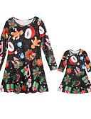 hesapli Gelin Şalları-Annem ve ben Actif Noel / Günlük Geometrik Uzun Kollu Polyester Elbise Siyah
