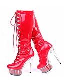 abordables Pantalons Femme-Femme Polyuréthane Hiver Classique Bottes Talon Aiguille Bout rond Bottes Rivet Noir / Rouge / Rose / Soirée & Evénement