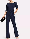 baratos Vestidos para Trabalhar-Mulheres Diário Activo Azul Marinha Macacão, Sólido Franjas M L XL Manga Longa