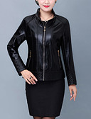 cheap Women's Leather & Faux Leather Jackets-Women's Daily Fall & Winter Regular Leather Jacket, Solid Colored Stand Long Sleeve PU Black / Red XXXL / 4XL / XXXXXL / Slim