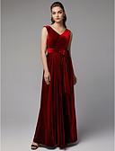 baratos Vestidos de Noite-Linha A Decote V Longo Veludo Evento Formal Vestido com Faixa / Fita / Fenda Frontal de TS Couture®