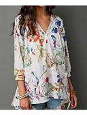 baratos Blusas Femininas-Mulheres Camisa Social Básico Floral Decote V Solto