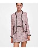 baratos Blazers Femininos-blazer feminino xadrez sólido colorido v pescoço