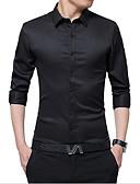 お買い得  メンズ・ベルト-男性用 ワーク シャツ ビジネス レギュラーカラー ソリッド ダックグレー XL / 長袖