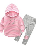 cheap Bikinis-Kids Girls' Active / Street chic Daily / Sports Striped / Patchwork Patchwork Long Sleeve Regular Rayon Clothing Set Pink