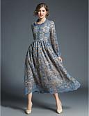 baratos Vestidos Femininos-Mulheres Para Noite Boho / Moda de Rua balanço Vestido - Renda, Jacquard Médio