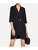 cheap Work Dresses-Women's Work Basic Little Black Dress - Solid Colored Black S M L