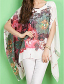 cheap Print Dresses-Women's Street chic Batwing Sleeve Oversized Blouse - Floral Print / Spring / Summer