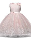 Χαμηλού Κόστους Φορέματα για κορίτσια-Νήπιο Κοριτσίστικα Γλυκός / Εκλεπτυσμένο Αργίες / Εξόδου Patchwork Δαντέλα / Φιόγκος / Δίχτυ Αμάνικο Ρεϊγιόν / Πολυεστέρας Φόρεμα Ανθισμένο Ροζ