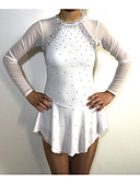 abordables Robe de Patinage-Robe de Patinage Artistique Femme Fille Patinage Robes Blanc Mosaïque Spandex Fil élastique Haute élasticité Compétition Tenue de Patinage Classique Manches Longues Patinage Artistique