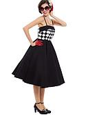 halpa Vintage-kuningatar-Marilyn Monroe Ihmeellinen rouva Maisel Retro / Vintage 1950-luku Wasp-Waisted Mekot jsk / Jumper Skirt Naisten Asu Musta Vintage Cosplay Kotiinpaluujuhla Hihaton Midi