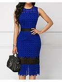cheap Romantic Lace Dresses-Women's Daily Basic Sheath Dress - Color Block High Waist Blue XL XXL XXXL / Lace / Sexy
