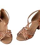 זול שמלות ערב-בגדי ריקוד נשים נעלי ריקוד סטן נעליים לטיניות ריינסטון עקבים עקב קובני מותאם אישית חום / הצגה / עור