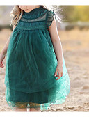 cheap Girls' Dresses-Toddler Girls' Active Daily Solid Colored Lace Sleeveless Knee-length Dress Green