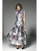 preiswerte Abendkleider-A-Linie Stehkragen Knöchel-Länge Organza Kleid mit Rüschen durch LAN TING Express