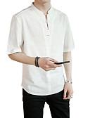 お買い得  メンズTシャツ&タンクトップ-男性用 Tシャツ アジアン・エスニック Vネック ソリッド リネン / 半袖