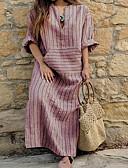 זול שמלות נשים-צווארון V א-סימטרי דפוס, פסים - שמלה ישרה משוחרר מידות גדולות בסיסי בגדי ריקוד נשים