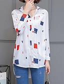 baratos Vestidos para Trabalhar-camisa de algodão plus size feminina - gola de camisa geométrica